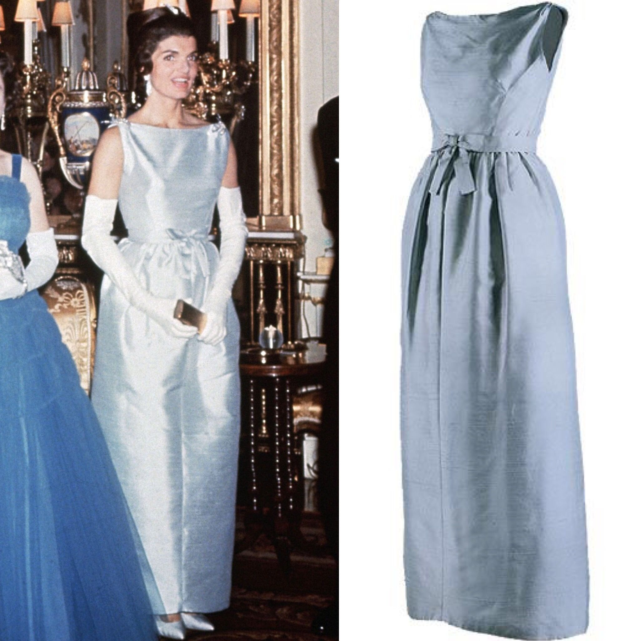 First Lady Jackie Kennedy Wearing A Light Blue Chez Ninon Gown When Visiting Queen Elizabeth Ii At Jacqueline Kennedy Style Jackie Kennedy Style Jackie Kennedy [ 2048 x 2048 Pixel ]