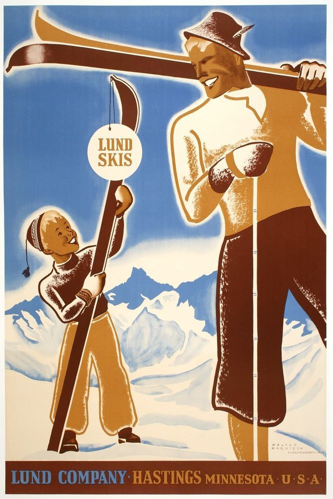 Original Vintage Poster Lund Skis by Harnish 1955 American Winter Snow Minnesota #Vintage
