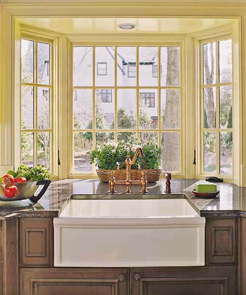 Spacious And Stylish Tudor Revival Kitchen For A 1920s Home Kitchen Bay Window Kitchen Remodel Kitchen Sink Window