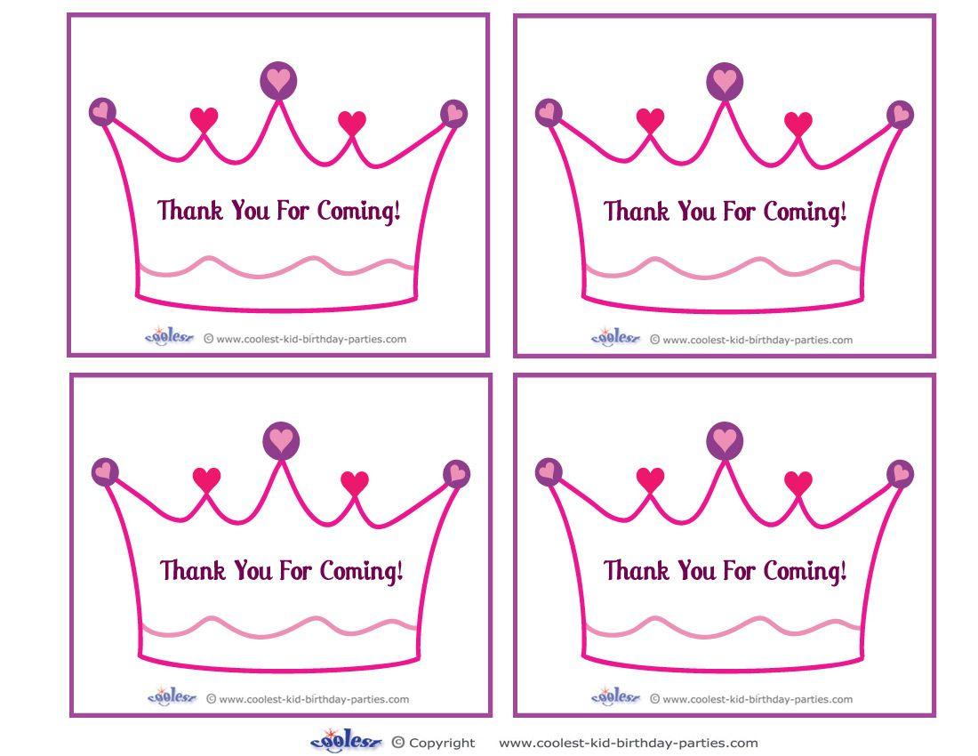 Printable Crown Thank You Cards Birthday Thank You Cards Princess Birthday Party Princess Birthday