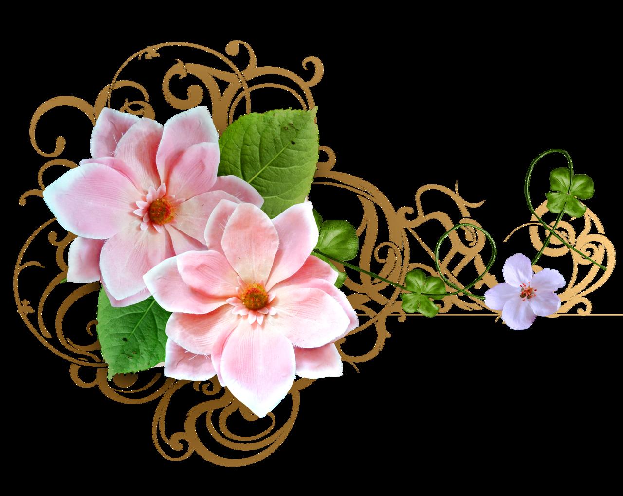Оформление цветами открытки