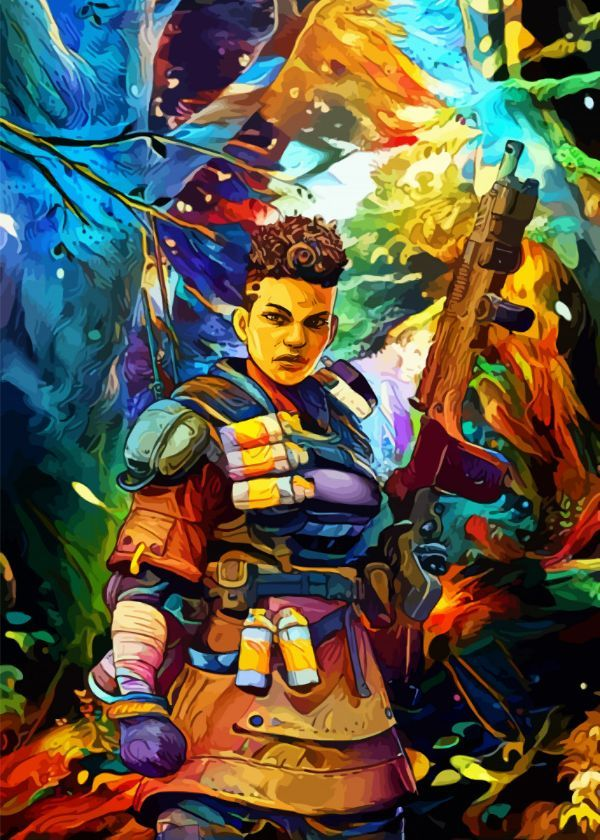"""Apex Legends Surrealist Characters Bangalore #Displate artwork by artist """"Space Chimpa"""". Part of a…   Displate thumbnail"""
