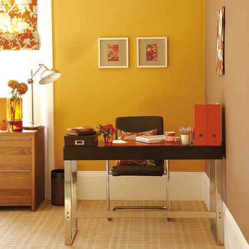 Bright, modern office: Orange paint + chocolate-brown accents ...