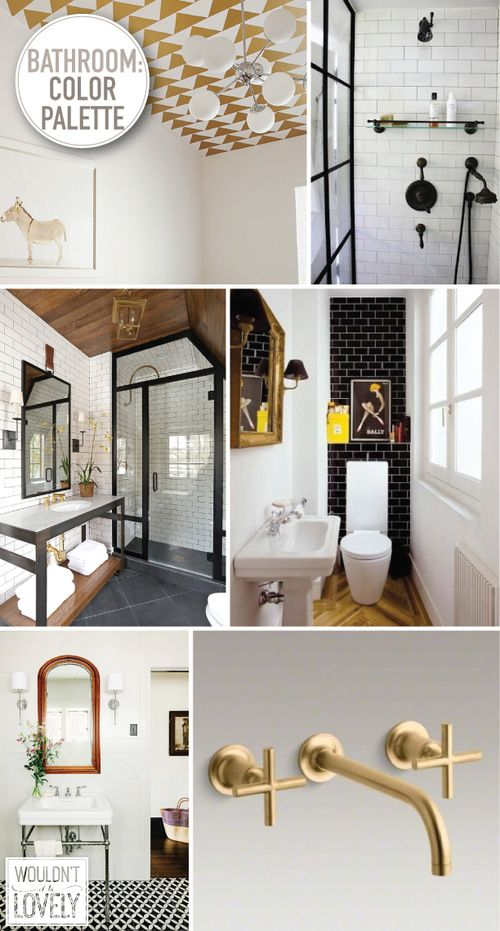 Our Bathroom Color Palette White Black Gold And Wood Wouldn T It Be Lovely Bathroom Color Palette Gold Bathroom Decor Bathroom Color