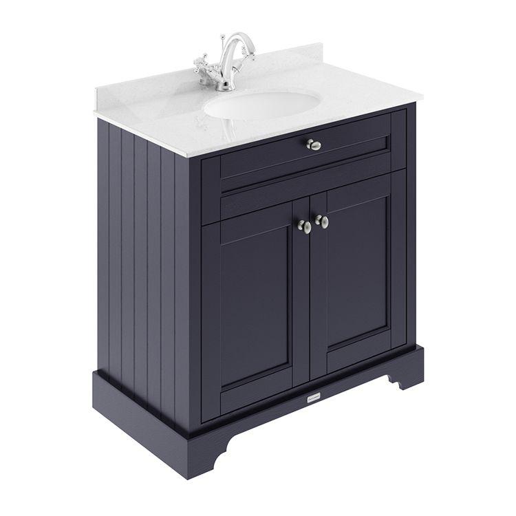 Old London 800 Unit & Basin in Twilight Blue   Sanctuary Bathrooms