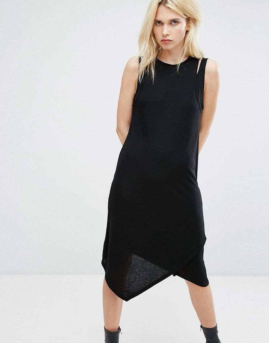 Cheap monday double layer ribbed tank dress black