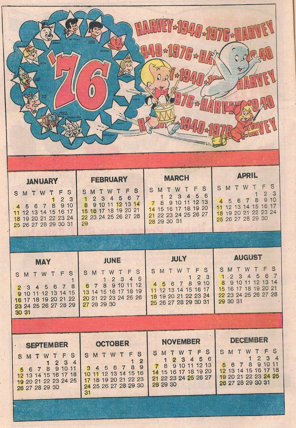 Richie Rich Bicentennial July 1976 Calendar Years And Yesterdays