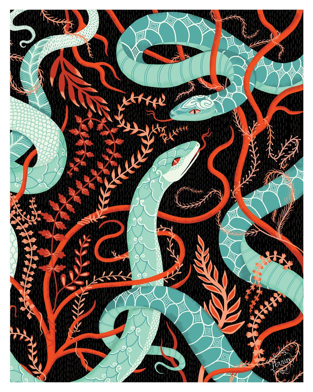 VINES & SNAKES // 8 x 10 print Wall art prints, Snake