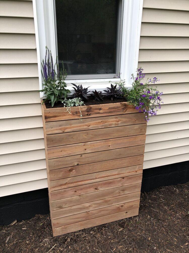 Modern Slat Window Planter in 2020 Window boxes diy