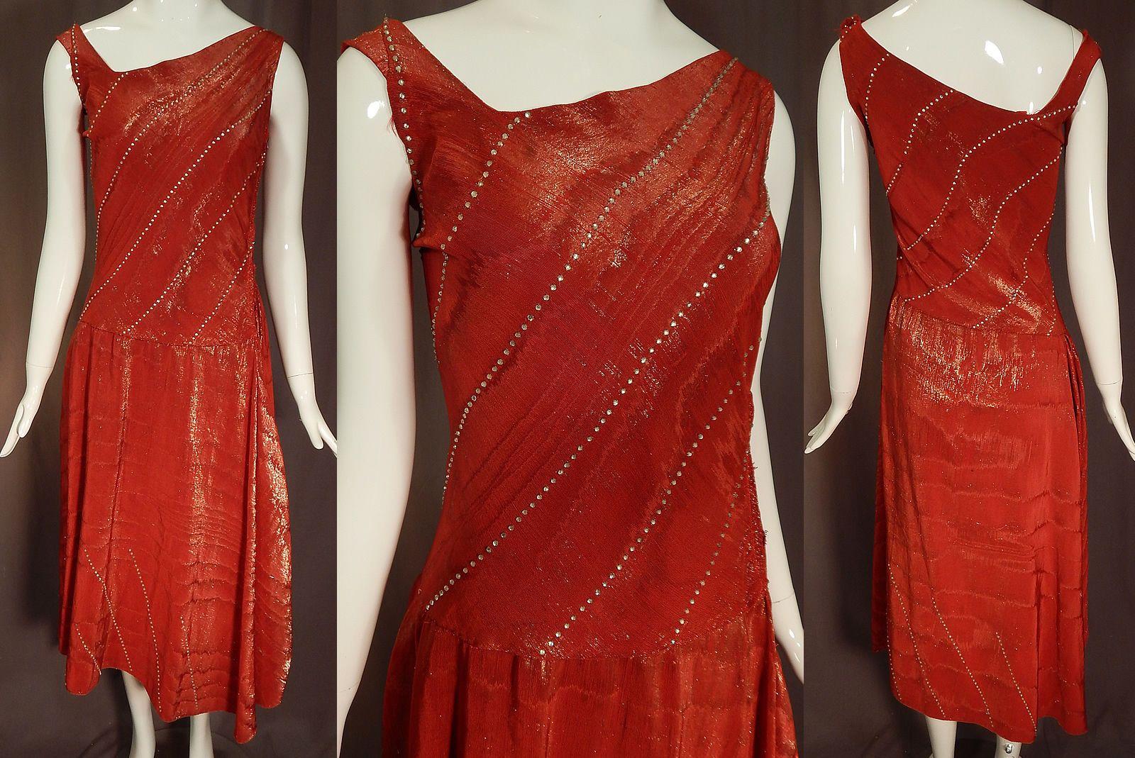 Vintage Martial et Armand Paris Label Gold Lamé Lame Rhinestone Beaded Dress | eBay