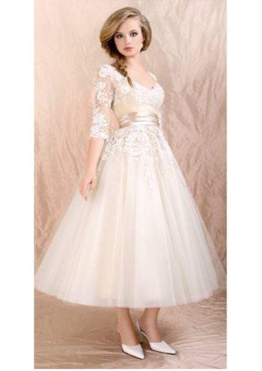 Brautkleid/Standesamtkleid 14ies Look/Vintagelook elfenbein Gr. 14