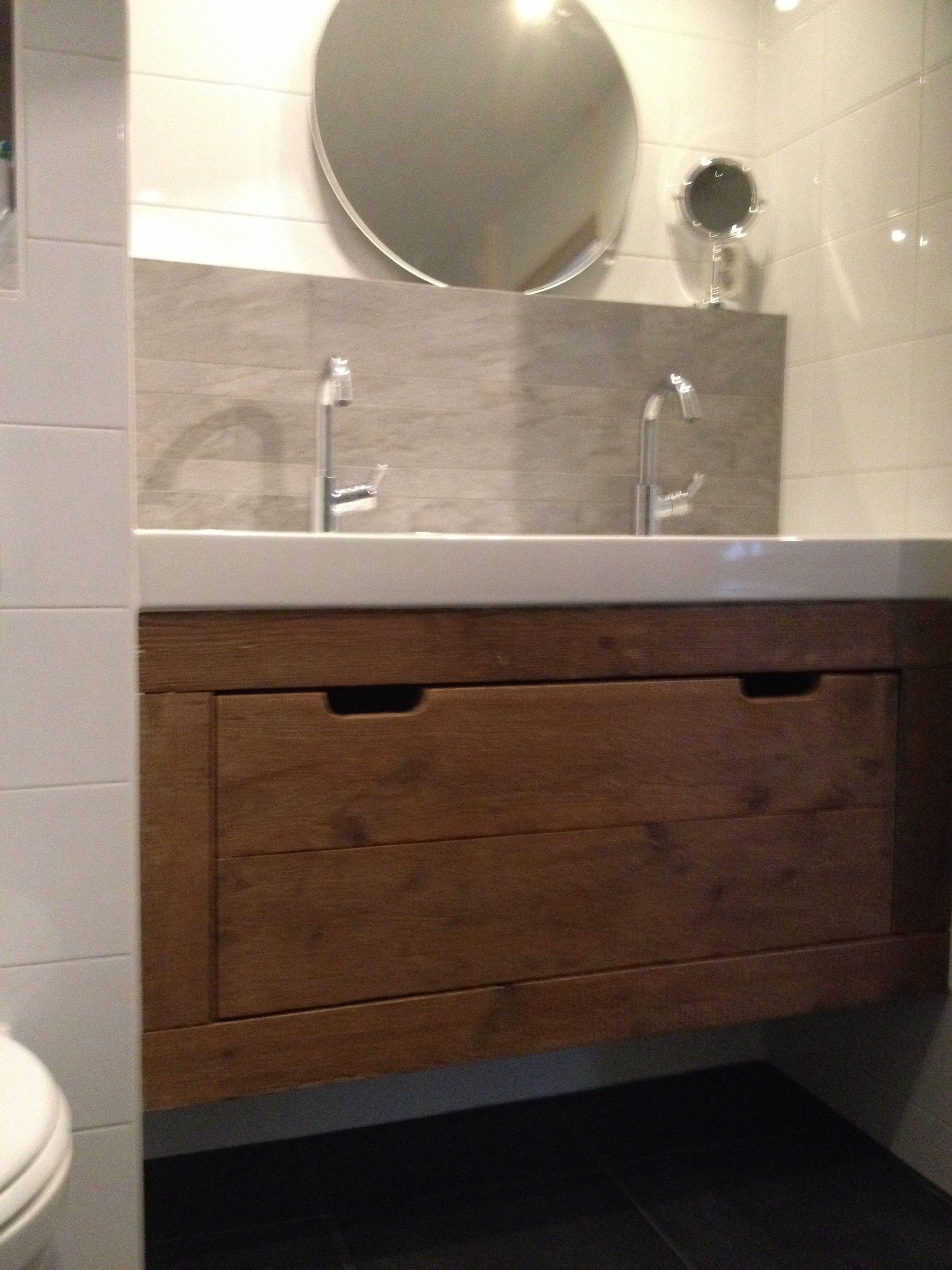 badkamermeubel van steigerhout grote opbergla met soft close