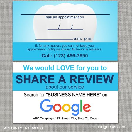 Dental Appointment Cards Review Cards Http Smartguests Com