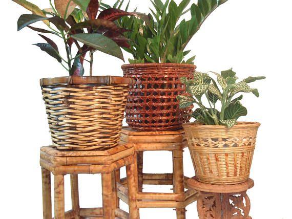 Woven Plant Baskets Plant Pots Set Of 3 Boho Wicker Rattan Plant Basket Wicker Vintage Home Decor