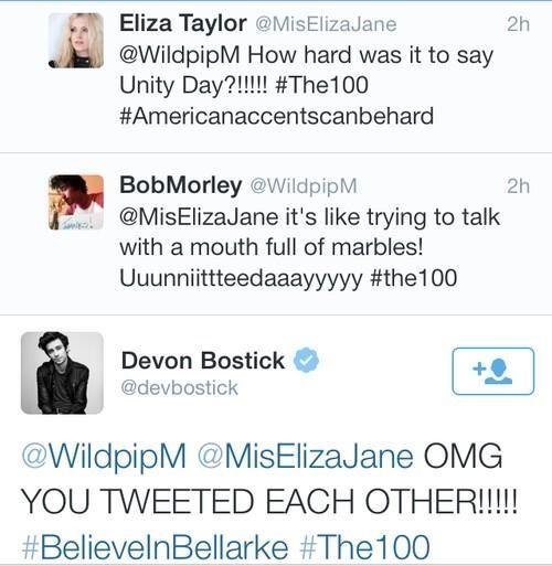 Oh Devon :DD II Eliza Taylor (Clarke Griffin), Bob Morley (Bellamy Blake) and Devon Bostick (Jasper Jordan) II The 100 ships: Bellarke