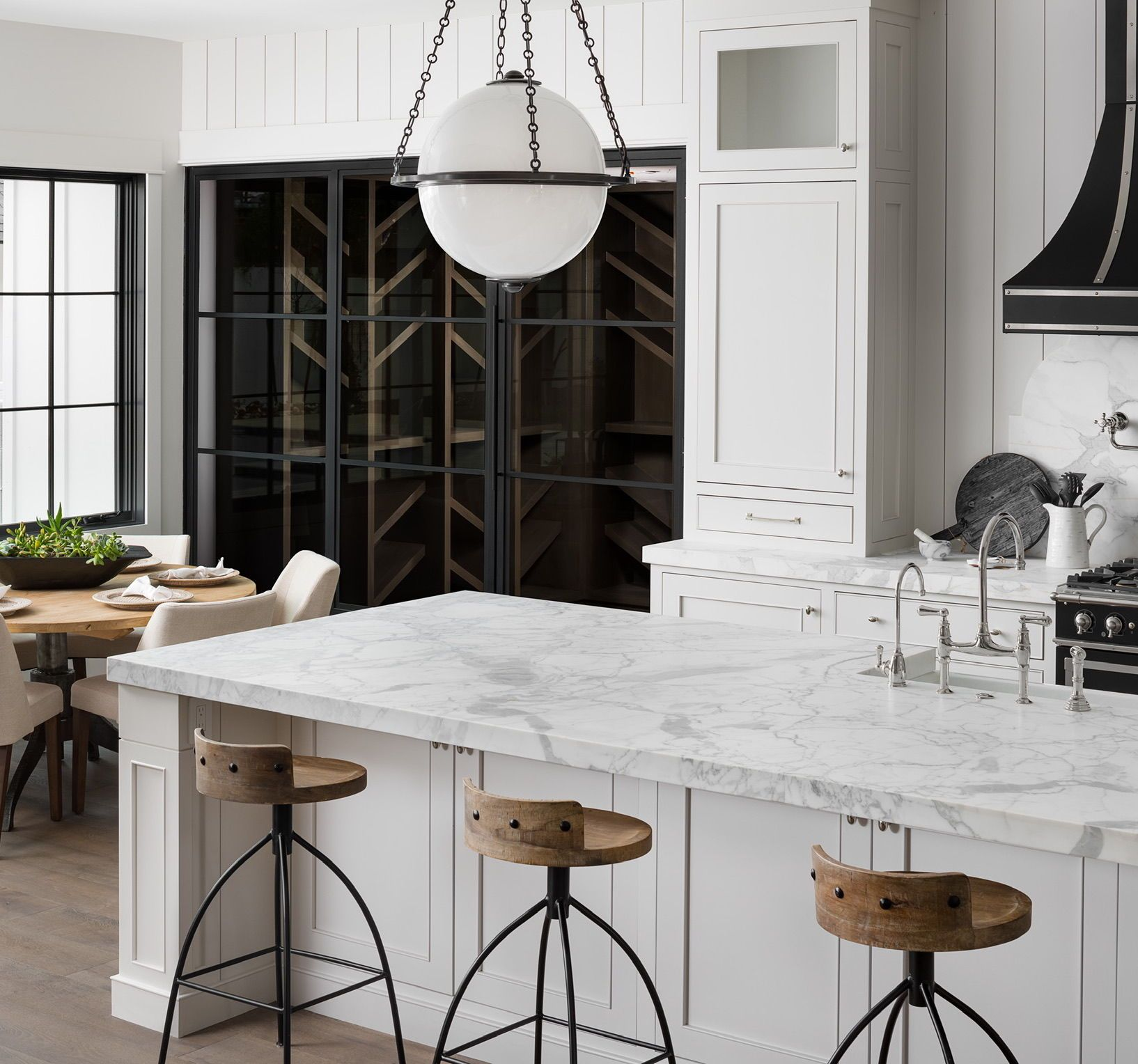 Stools On Two Sides Of Kitchen Island Transitional Kitchen Kitchen Island With Seating Large Kitchen Layouts Large Kitchen Island