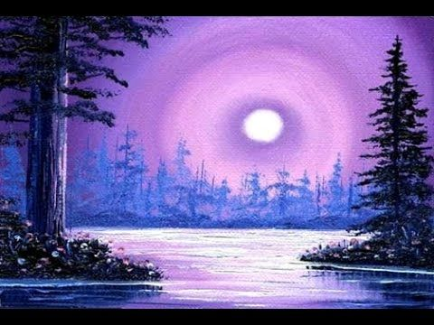 Violescent Sunset 35x5 Small Simple Oil Painting Exercise For