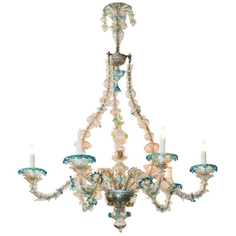 Rare And Unusual Venetian Glass Chandelier Glass Chandelier
