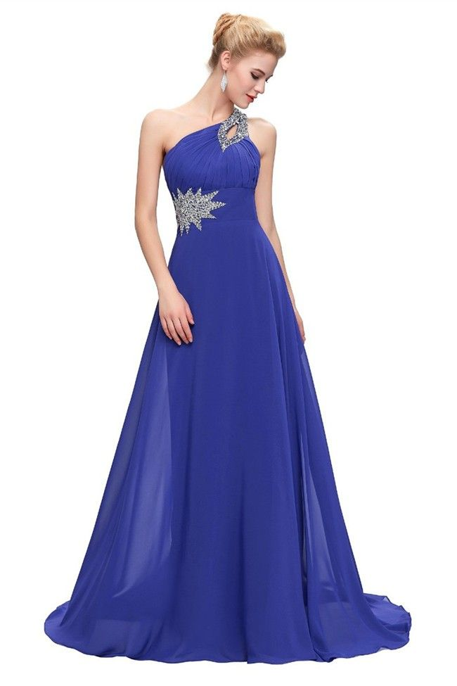 A Line One Shoulder Royal Blue Chiffon Beaded Prom Dress Lace Up ...
