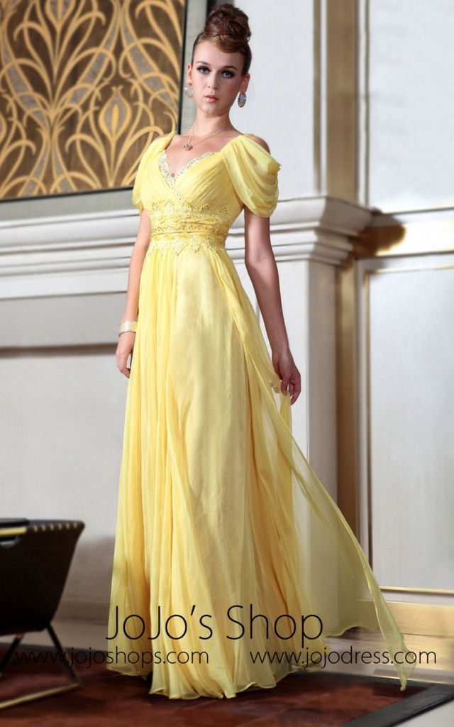 4bb00f3952a8 Yellow Off Shoulder Princess Regency Style Evening Dress | Formal ...