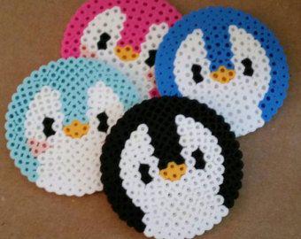 Cute Penguin Perler Bead Coasters Set Of
