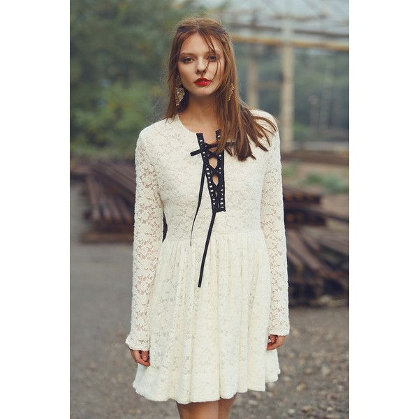 White Lacy Fit Flare Mini Dress (635 VEF) ❤ liked on Polyvore featuring dresses, fit and flare dress, lacy dress, white fit and flare dress, short fit and flare dress and lace dress