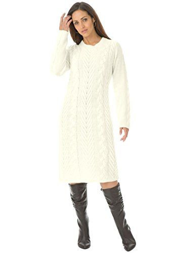 9b866f2af3b Jessica London Women s Plus Size Cable Knit Dress Ivory