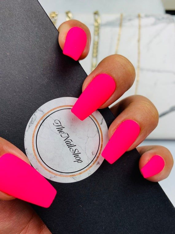 Pink Neon Press on Nails  Pink Nails  Neon Nails  Vacation | Etsy