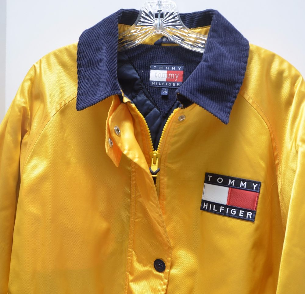 Tommy hilfiger yellow coat jacket quilted lining color block mens