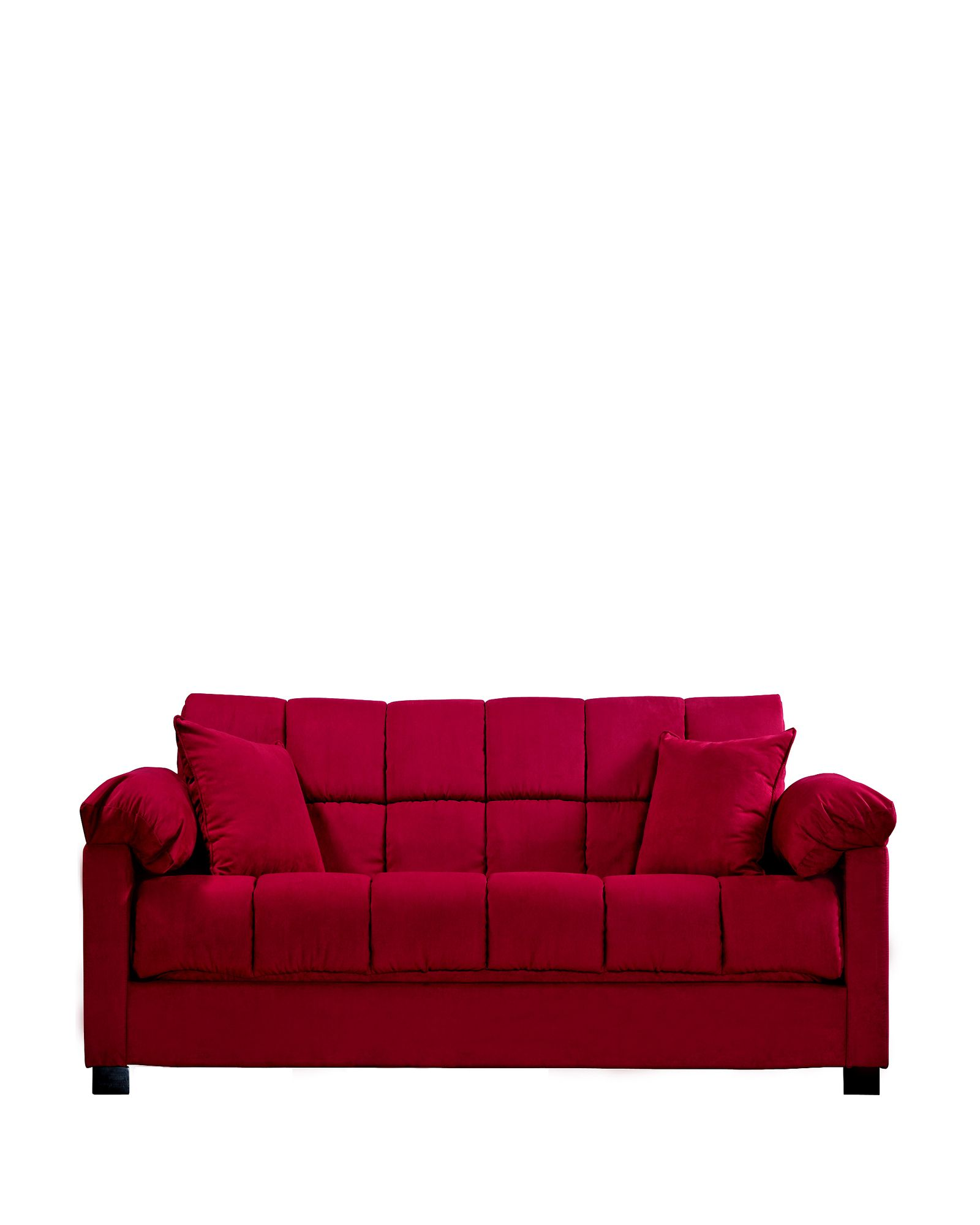 Handy Living Convert A Couch Microfiber Sleeper Sofa In Crimson Red Beautiful Functional Looks Pretty Comfy Sofa Sleeper Sofa Couch Bed Pillows Decorative