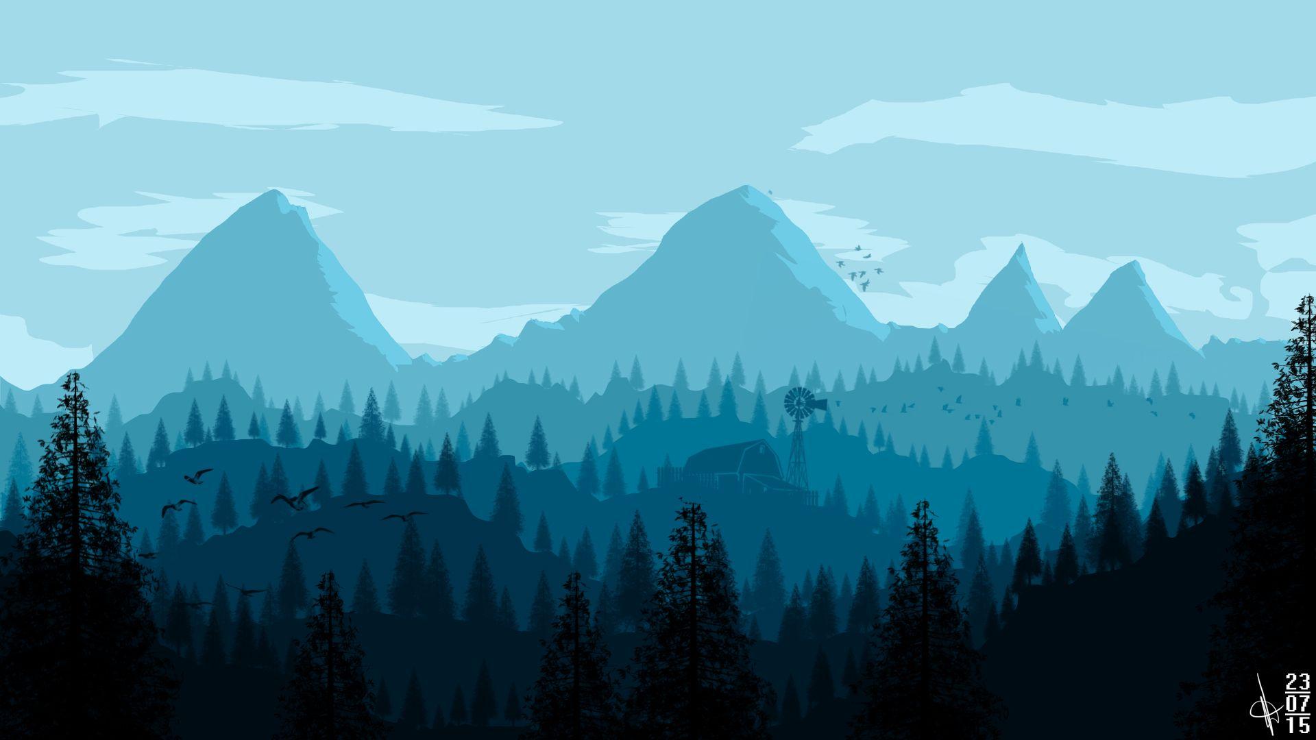 Mountain Vector Wallpaper Hd