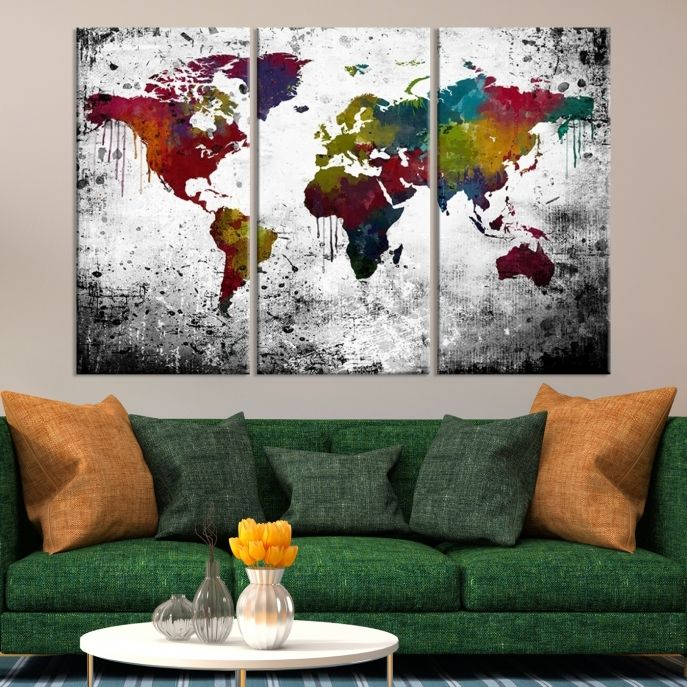 Large wall art colorful world map on white and black background large wall art colorful world map on white and black background canvas print mygreatcanvas gumiabroncs Images