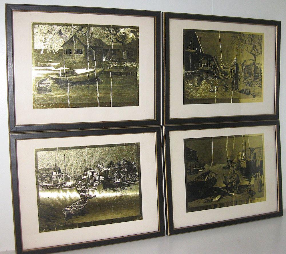 Four vintage framed lionel barrymore pints on gold foil