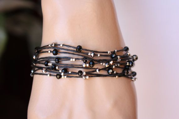 Black and Silver Ten Strand Thin Leather Beaded by monroejewelry