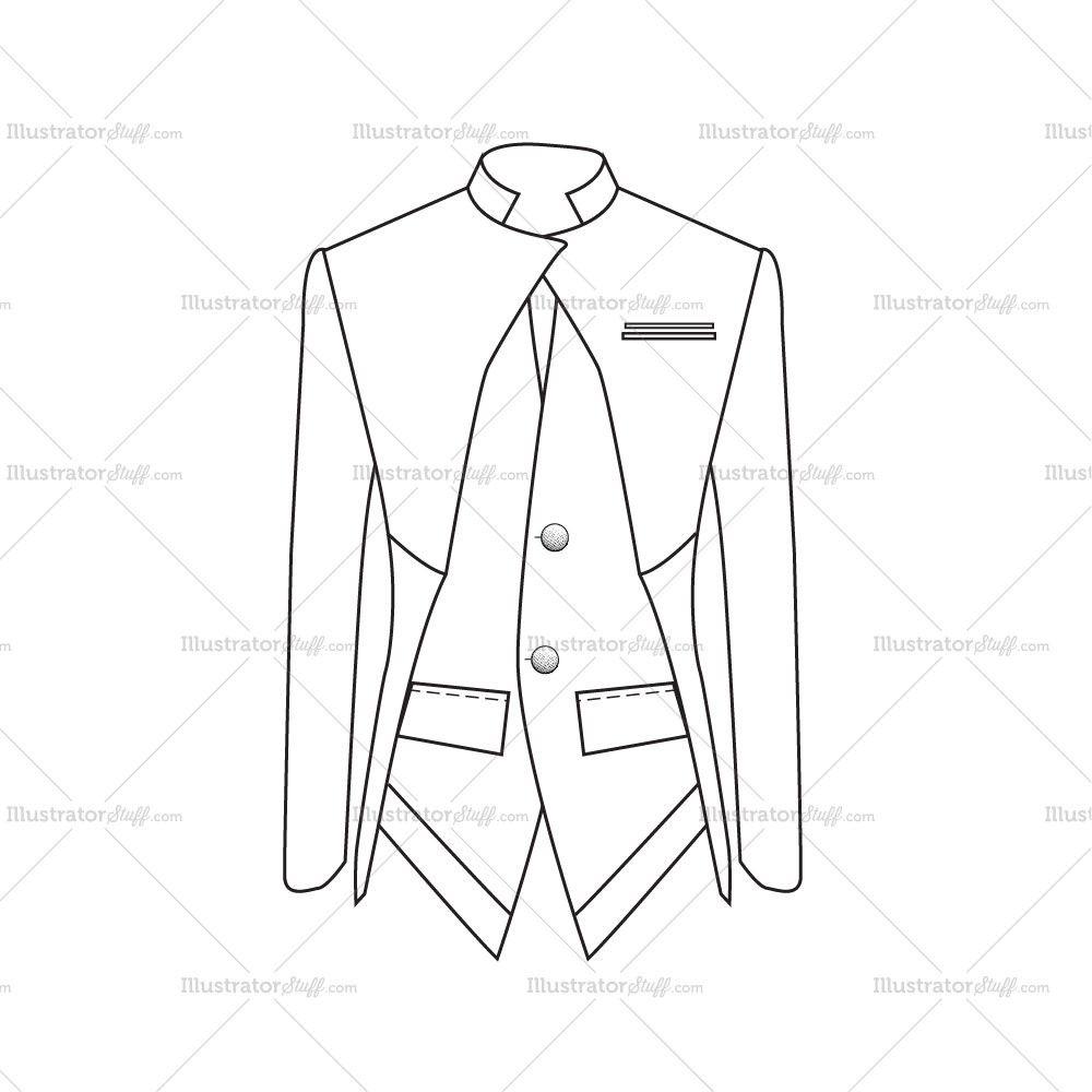 Men\'s Slim Fit Blazer Fashion Flat Template