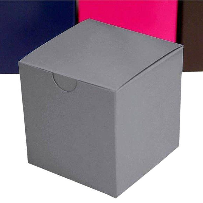 "100 PCS 3"" x 3"" Silver Bridal Shower Party Favor Gift Boxes"