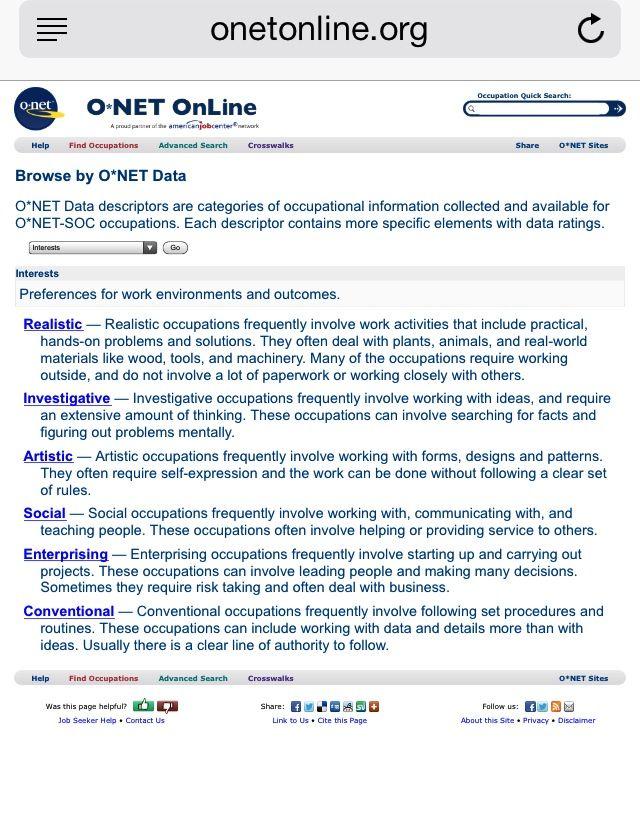 wwwonetonlineorg O*NET Data descriptors refer to categories