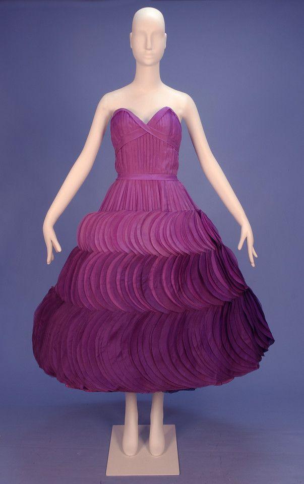 JEAN DESSES STRAPLESS OMBREED SILK PETAL DRESS, 1950\'s. Tucked plum ...