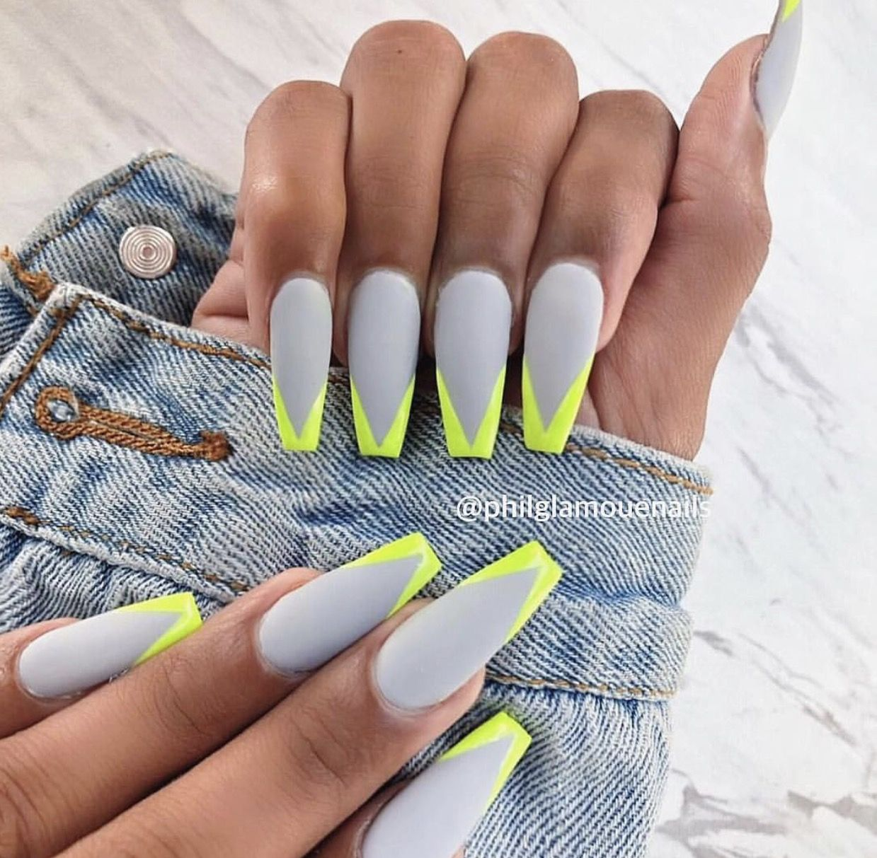 Coffin Nails Designs, Yellow