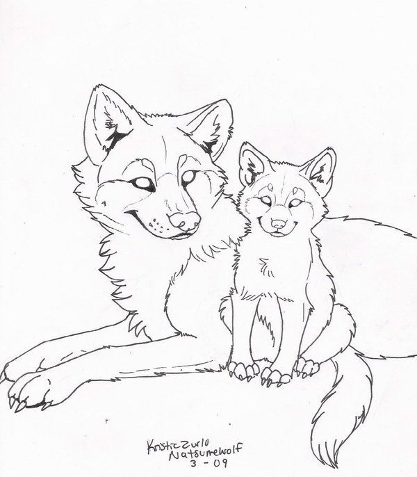 Free Wolf And Pup Line Art Wolf Sketch Horse Coloring Pages Animal Sketches