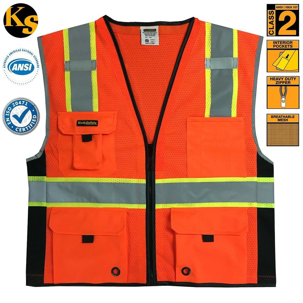 Workplace Safety Supplies Safety Clothing High Visibility Two Tone Mesh Safety Vest Reflective With Pockets And Zipper For Construnction Engineer Sturdy Construction