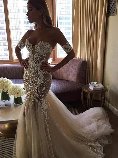 Sexy, Off Shoulder Mermaid Wedding Dress