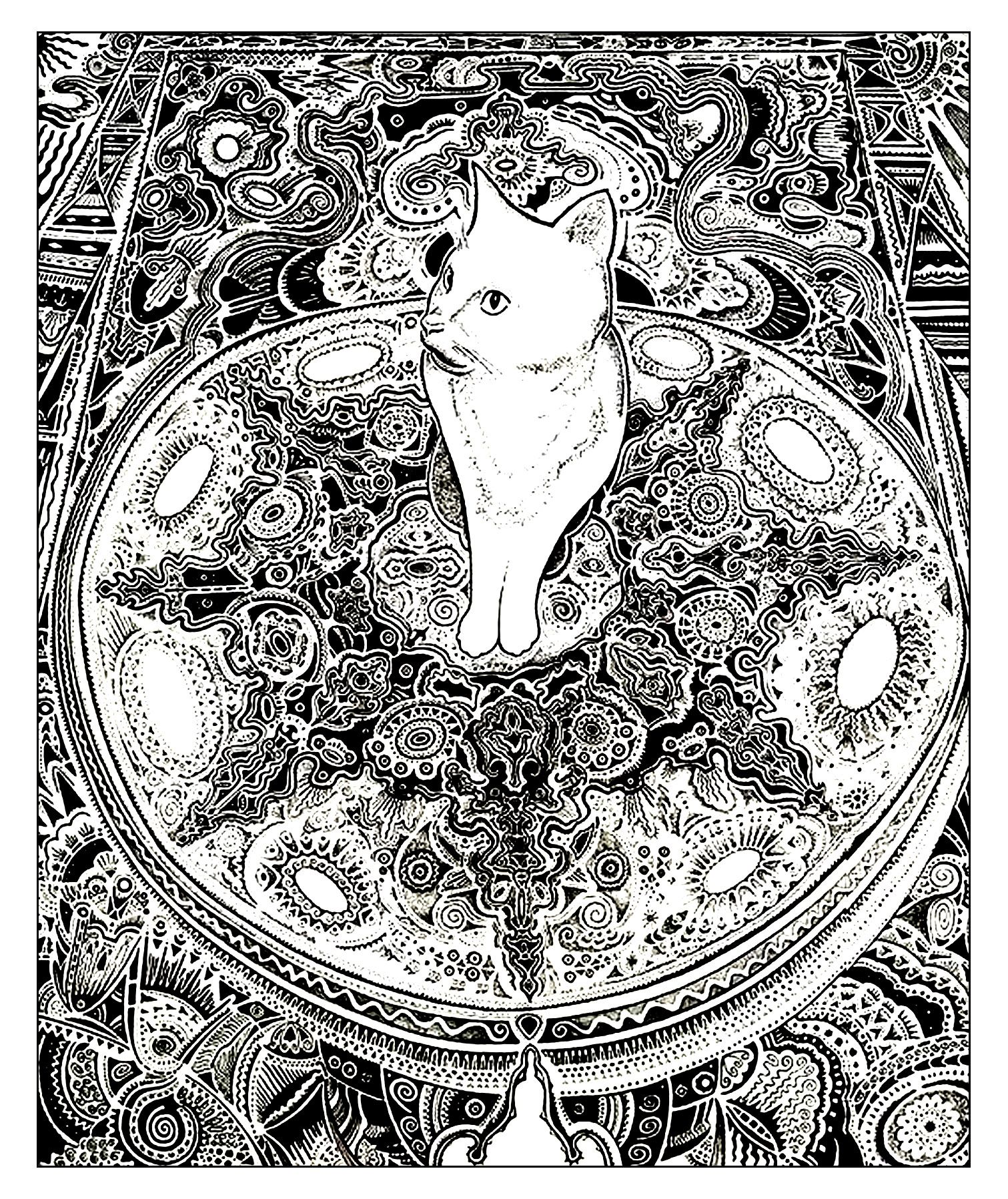 Galerie de coloriages gratuits coloriage adulte animaux chat tapis un chat sur un beau tapis - Chat a colorier adulte ...