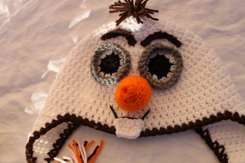 Crochet handmade Olaf the snowman hat/beanie with earflsps and long ...