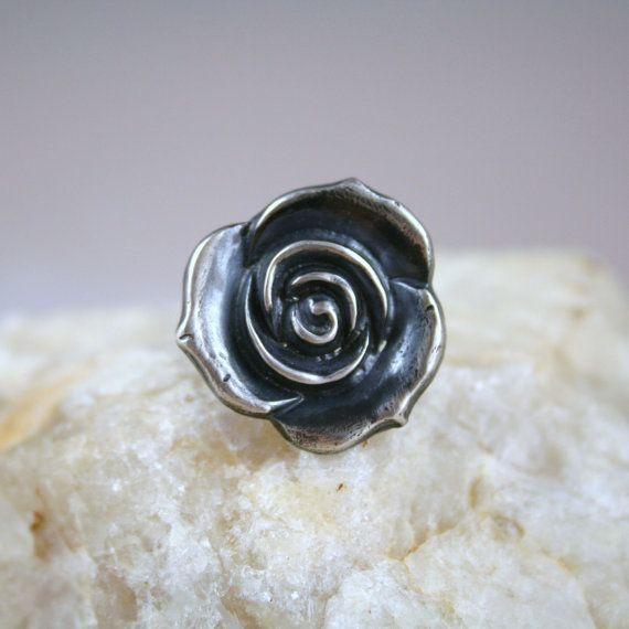 Fine Silver Rose Ring lg by nipeli on Etsy, $64.00