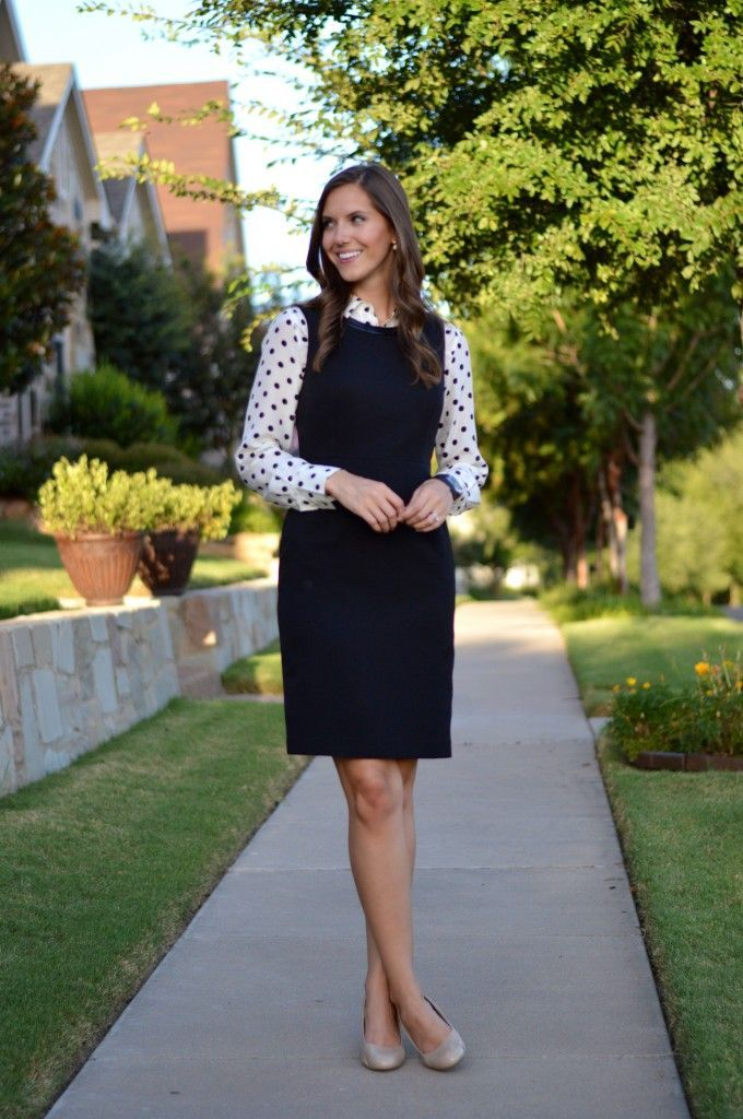 Button Up Layered Under A Shift Dress Nude Pumps Long Sleeve