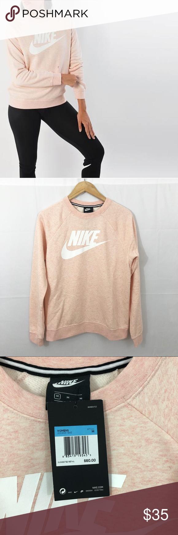 Nike Pink Heathered Crewneck Pullover Sweatshirt M Sweatshirts Pullover Sweatshirt Pullover [ 1740 x 580 Pixel ]