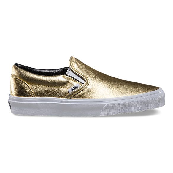 metallic leather slip on metallic leather