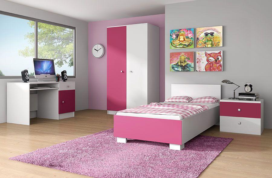 Chambre enfant compl te contemporaine maelys coloris rose Chambre de fille conforama
