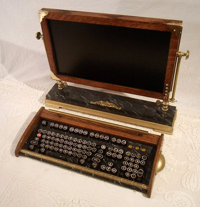 Custom Built Vintage Looking - 20inch Widescreen LCD Monitor-Wireless Keyboard-Mouse Combo ...Victorian Steampunk Style